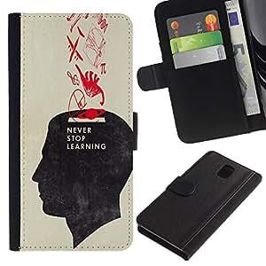 Be-Star la tarjeta de Crédito Slots PU Funda de cuero Monedero caso cubierta de piel Para Samsung Galaxy Note 3 III ( Never Stop Learning School Teacher )