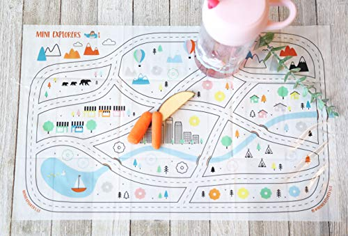 Disposable Placemats for Baby Toddlers Kids, Table Topper Disposable Placemats - Biodegradable BPA-Free Premium Super Sticky Stick-on Place Mats - Roadmap by Mini Explorers (60 Count) by Mini Explorers (Image #1)
