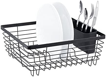 Dish Drainer Stainless Steel Drying Rack with 3-Piece Set and Removable  Utensil Holder Small Dish ... 68432ee2f613