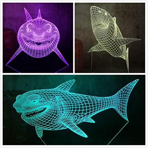 3D Night Light Night Light 3 Kinds Shark 3D Led 7 Color Night Light Usb Remote Control Home Decro Desk Lamp Kid Toys…