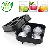 Ice Ball Tray, Novelty Food-Grade Silicone Ice Mold With 4 X 4.5cm Ball Capacity, Keep Drinks Colder Longer Than Ice Cube, Easy Remove Ice Sphere Maker with Lid, BPA Free