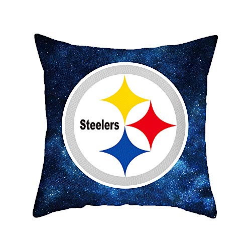 Gloral HIF Pittsburgh Steelers Throw Pillow Covers Set Pack of 2 Soft Decorative Throw Pillow Cases Decorative - 18x18 Inches