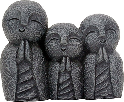 "Eastern Enlightenment Jizo Monks Smiling and Praying Statue, 3 Inch Dark Grey Desk and Shelf Decoration - Measures: L: 3.5"" x W: 1.5"" x H: 3"" Made of cold cast resin. Hand painted. A YTC Summit original design - living-room-decor, living-room, home-decor - 51sWFveEi3L -"