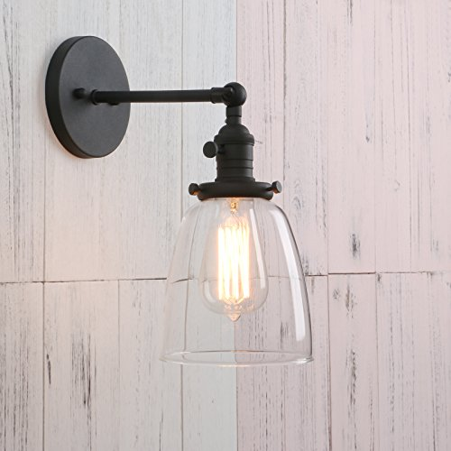Permo Industrial Vintage Single Sconce With Oval Cone Clear Glass Shade 1-light Wall Sconce Wall Lamp (Black) - Old Bronze Halogen Reading Lamp