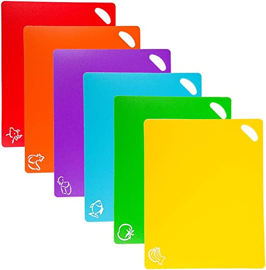 Valuehall Chopping Board Set Of 5 Colour Coded Chopping Boards Flexible Plastic Mats Breakfast Boards Chopping Boards Kitchen Board For Fish Vegetable Meat V7093 Küche Haushalt