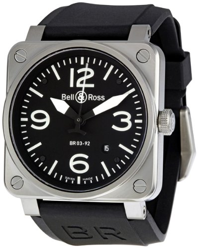 Bell and Ross Aviation Black Dial Steel Case Automatic 42 MM Mens Watch BR-03-92-STEEL