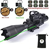 AR15 Tactical Rifle Scope Combo C4-16x50EG Hunting Dual Illuminated with Green Laser sight and 4 Holographic Reticle Red/Green Dot Sight for 22&11mm Weaver/Picatinny Rail Mount (4-16x50EG Green Laser)