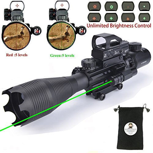AR15 Tactical Rifle Scope Combo C4-16x50EG Hunting Dual Illu