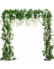 Wisteria Garland Artificial Silk Wisteria Vine 5pcs 7.2ft/Piece Ivy Leaves Garland Wisteria Artificial Flowers Hanging Plants Greenery Fake Vines for Wedding Garland Arches Home Decor (White)