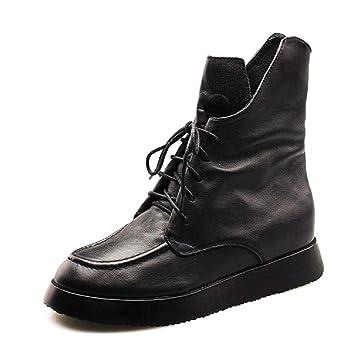 da908c956d8 Gaslinyuan Botas Negras con Cordones de Cuero Martin para Mujer (Color :  Negro, tamaño : EU 37): Amazon.es: Hogar