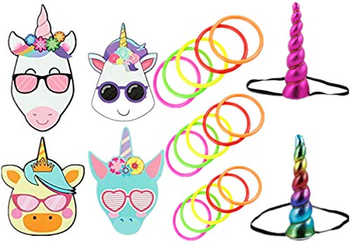 Ring Toss Game Diy (Unicorn Ring Toss Game +24 Children Make Unicorn Stickers - Unicorn Theme Birthday Party 4 Styles Unicorn Children Cartoon Cute DIY Party Sticker ,Party Favors Intelligence Craft - Create &)