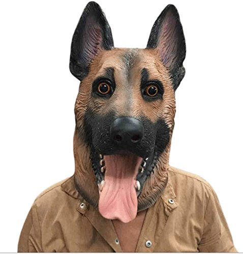 Pictures Of Weird Halloween Costumes (sirwolf Novelty Halloween Party Latex Animal Dog Head Mask Sounding German Shepherd)