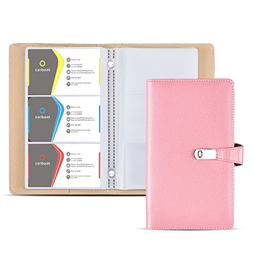 Business Card Holder Book, AHGXG Business Card Book Case PU Leather with Magnets Organization Binder Name ID Card Holder for Men & Women, Up to 200-300 Cards Capacity (150 Cells), - Card Business Pink