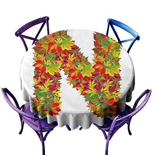 ScottDecor Letter N Fabric Tablecloth Fall Canadian Maple Leaves Shaped Symbolic Writing Sign Flourishing Mother Earth Patterned Round Tablecloth Multicolor Diameter 50