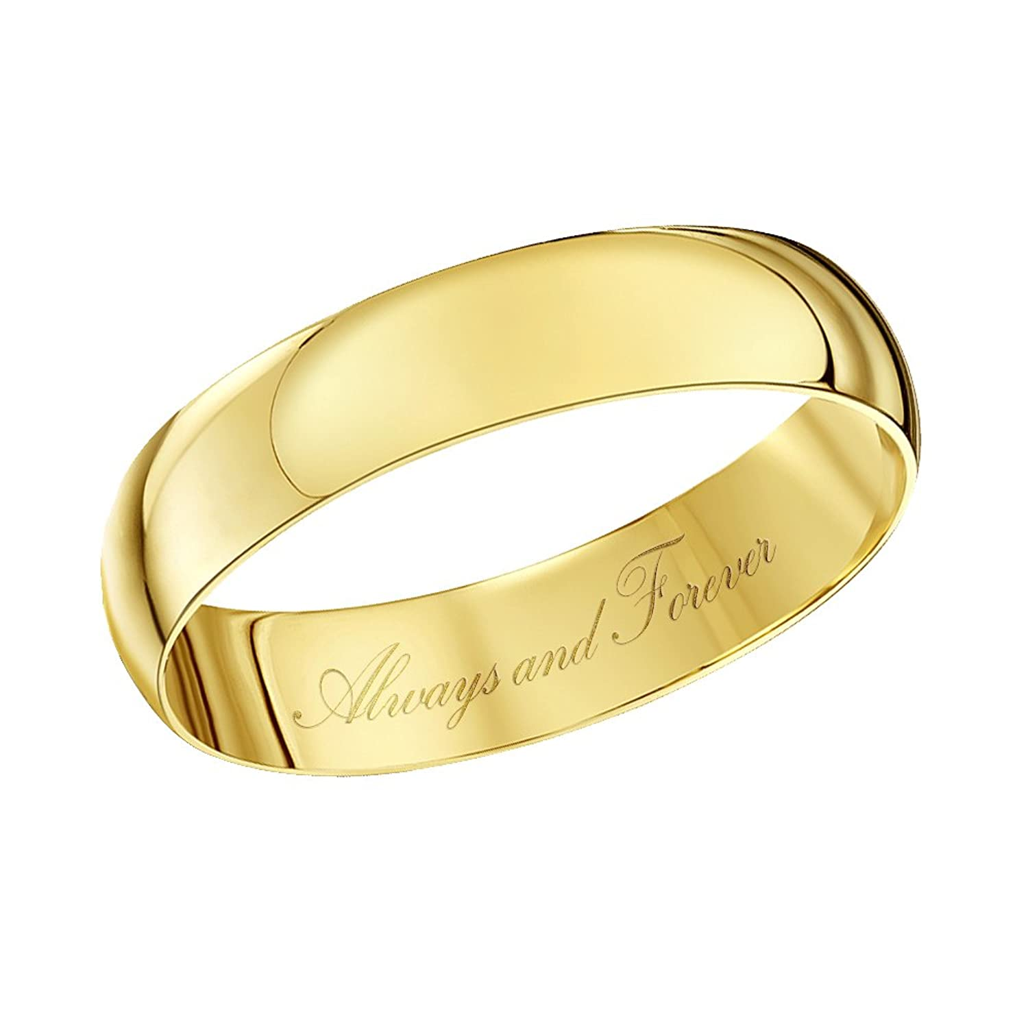 Theia Unisex 9 ct Yellow Gold Heavy D Shape Engraved Polished 4mm Wedding Ring B078FHCZ52
