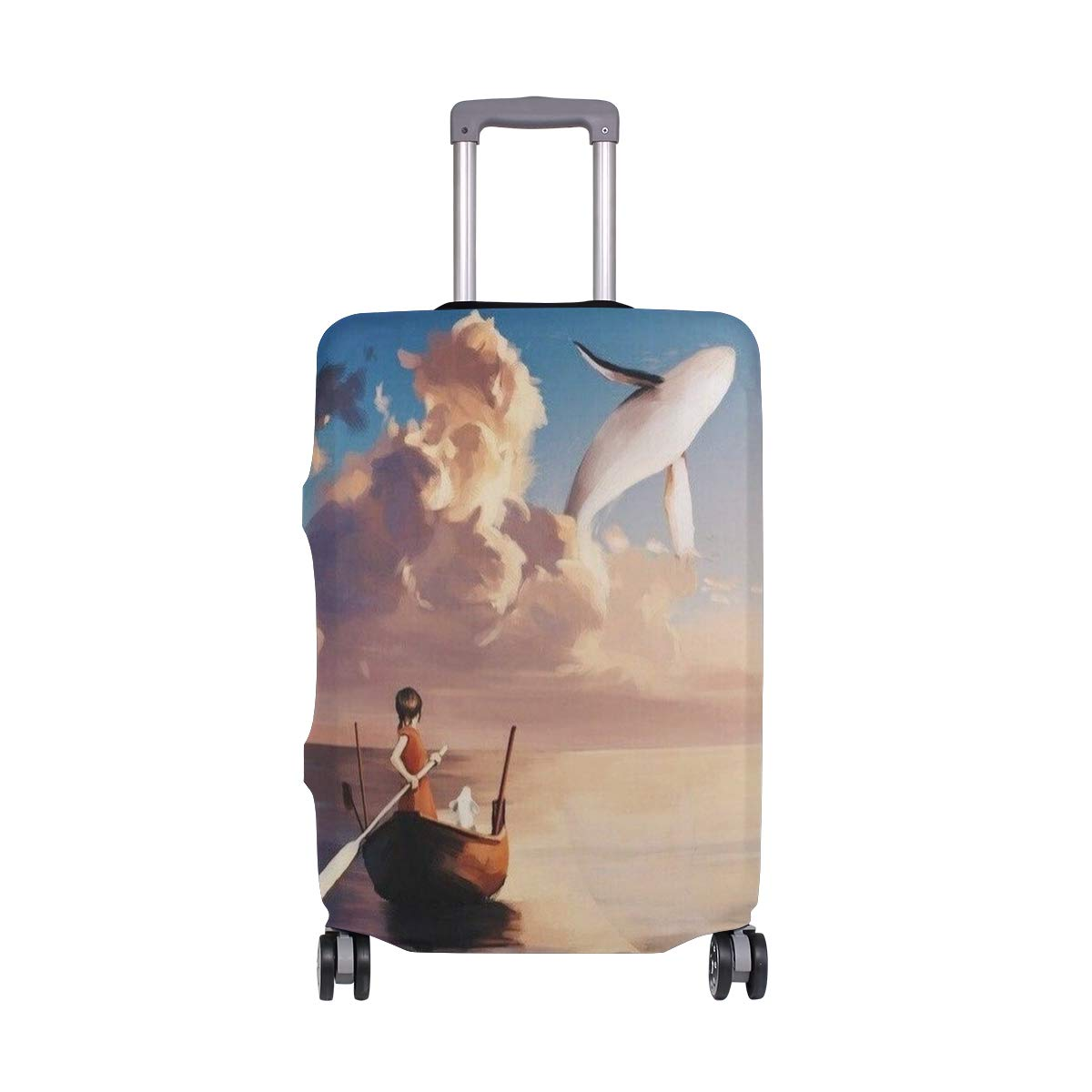Creative Painting Sea Boating Little Girl And Flying Whale suitcase cover elastic suitcase cover zipper luggage case removable cleaning suitable for 29-32 trunk cover