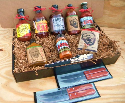 Kansas City Barbecue Sauce KC Combo Pack, Premium Gourmet Box Set [Includes 5 Bottles of Sauces, Seasoning Rub, Honey Cayenne Hot Sauce, Hot & Spicy Popcorn, Stainless Steel Tongs & 4 Premium Wood-Handled Steak (Barbecue Sauce Gift Basket)