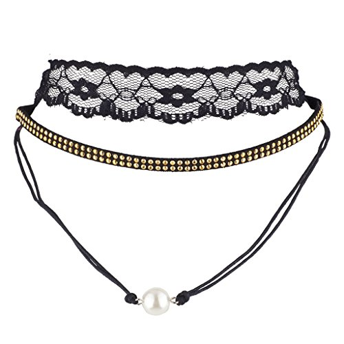 Lux Accessories Black Lace Goldtone Double Row Studded imitation Pearl Choker Set (3PCS) (Imitation Floral Necklace Pearls)