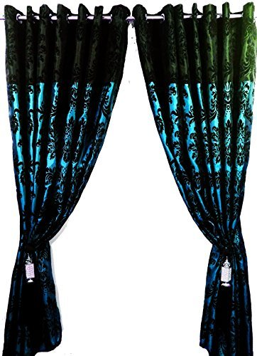 PAIR OF FULL FLOCK DAMASK TWO TONE FULLY LINED EYELET CURTAINS TEAL BLUE BLACK 66quot
