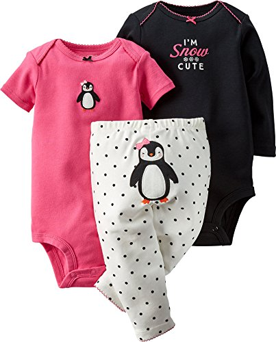 Carter's Baby Girls' 3-Piece Turn-Me-Around Pant Set - Penguin Dot - ()