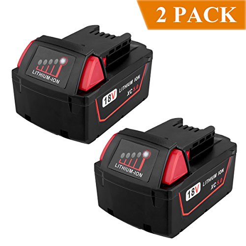 Biswaye 2 Pack 18V 5.0Ah Replacement Battery for Milwaukee High Capacity Red Lithium Cordless Power Tools M18 XC M18B 48-11-1820 48-11-1850 48-11-1828 by Biswaye