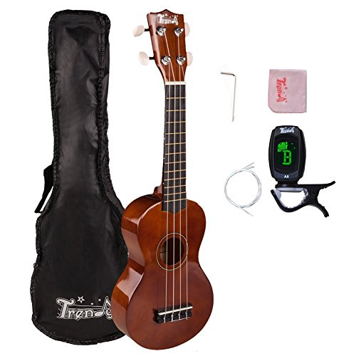Trendy Traditional and Painted Economy Hawaiian Soprano Ukulele Starter Pack 21 Inch Standard Model Brown