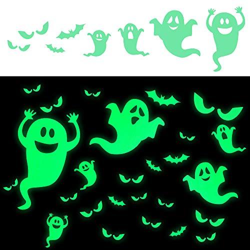 LUDILO 35Pcs Halloween Decorations Halloween Decals Wall Stickers Halloween Glow Stickers Glow in the Dark Stickers Bats Luminous Ghost Peeping Eyes Halloween Decor for Kids Room -