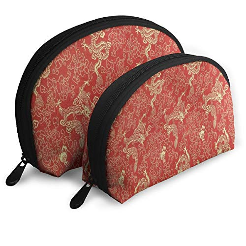 Makeup Bag Chinese Red Gold Dragon Portable Shell Cosmetic Bags For Girls Halloween Gift Pack - 2 -