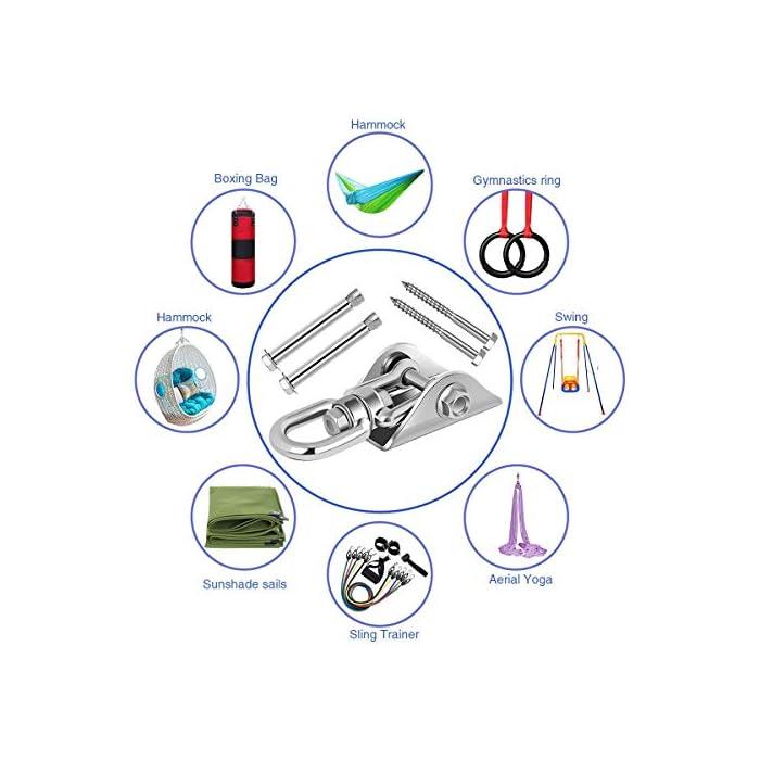 51sWIpYKWiL ✔ 【Material antioxidante】:Todas las piezas están hechas de colgador oscilante SUS304, antioxidante, perfecto para columpios para columpios para todos los columpios en interiores o exteriores, incluidos soportes de gimnasia para techo, columpios de porche y columpios de trapecio de yoga, lavadero, garaje y mucho más, duraderos. ✔ 【Diseño Unico 】:El diseño innovador hace que el uso sea más flexible y se pueda usar más ampliamente. Como patios de recreo, columpios, columpios de porche o columpios de hamacas. ✔【 FÁCIL DE INSTALAR】: Hemos taladrado previamente dos agujeros para atornillar a vigas de madera o concreto. Incluye 2 anclajes de hormigón y 2 pernos de retraso hexagonales, y un diseño único de una pieza y se puede instalar en minutos.