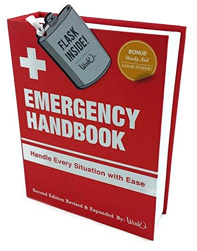 EMERGENCY HANDBOOK WITH STAINLESS STEEL FLASK INSIDE BY WINK & WILD EYE DESIGNS]()