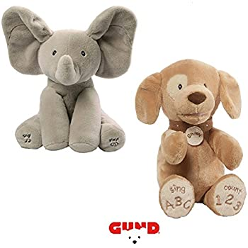 Gund Flappy the Elephant & Spunky ABC 123 Doggie Animated Plush Duo Bundle