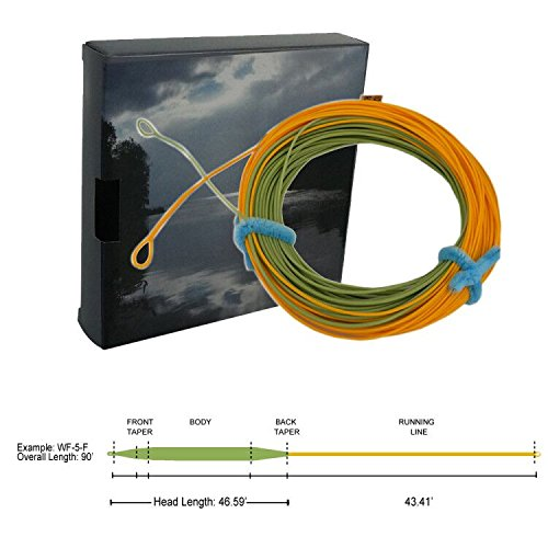 - Aventik Weight Forward Floating Fly Fishing Line Double Color Saltwater line with 2 Welded Loops with Line ID 90FT WF3/4/5/6/7/8F (Moss Green+Gold, DWF8F)