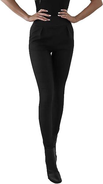 Pantalon Cuero Mujer Invierno Cintura Alta Skinny Bolsillos ...