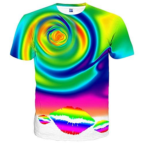 (Hgvoetty Unisex Colorful Shirts 3D Oil Paint Tshirt for Men Women Medium)