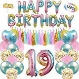 19th Birthday Decoration Party Supplies Number 1 Balloon Happy Banner 20 Paper Tassels 6 Confetti