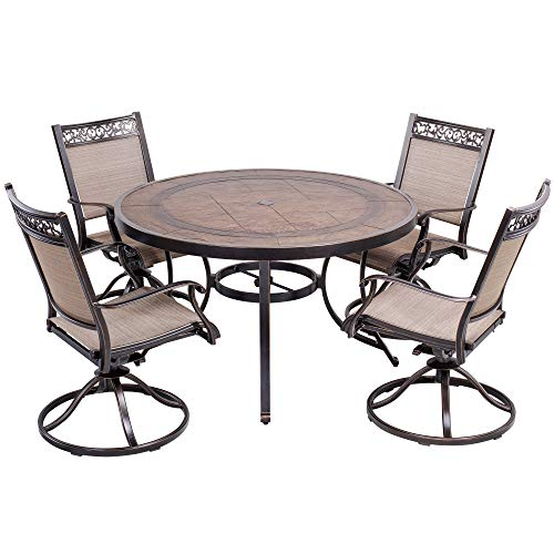 dali 5 Piece Outdoor Dining Set Patio Furniture, Aluminum Swivel Rocker Chair Sling Chair Set with 48 inch Round Crafttech Top Aluminum Table ()