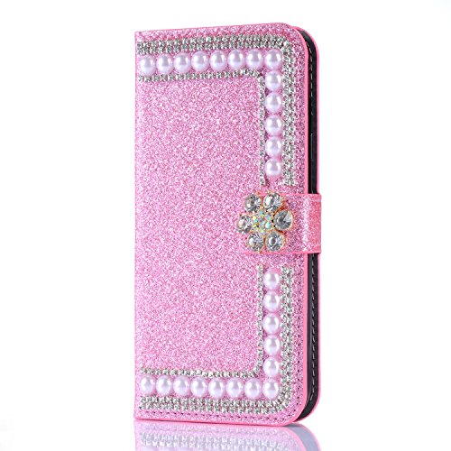 Glitter Wallet Case for Samsung Galaxy Note 8,Gostyle Bling Diamond 3D Pearl Flip Leather Case with Card Holder,Crystal Rhinestone Flower Magnetic Clasp Stand Cover-Pearl Pink