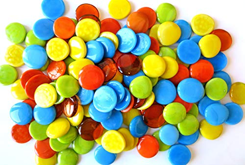 (Large Glass Gems, 4.75 lb. Bag of Bright-Colored Glass Stones, 35-38mm. Our Most Popular Color Combination, Both Opaque and Translucent Stones.)