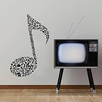 Para pared de clave de sol instrumentos musicales notas musicales y chica bailando guitarra eléctrica vinilo adhesivo en forma de cubo para dormitorio ...