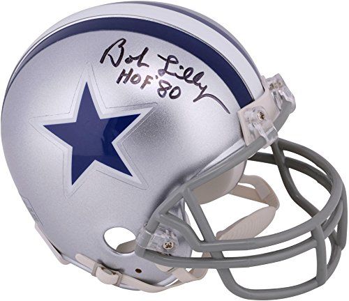 Bob Lilly Dallas Cowboys Autographed Throwback 1964-1966 Mini Helmet with HOF 1980 Inscription - Fanatics Authentic Certified ()