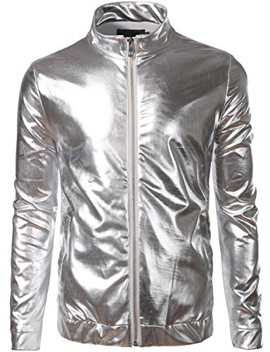 ZEROYAA Mens Unisex Casual Slim Fit Shiny Metallic Zip Up Stand Collar Jacket/Night Club Stage Blazer Silver Large