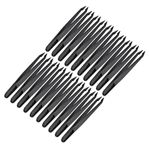 (uxcell Black Plastic Pointed Tip Anti-static Tweezers 4.7 Inch Length 20pcs)