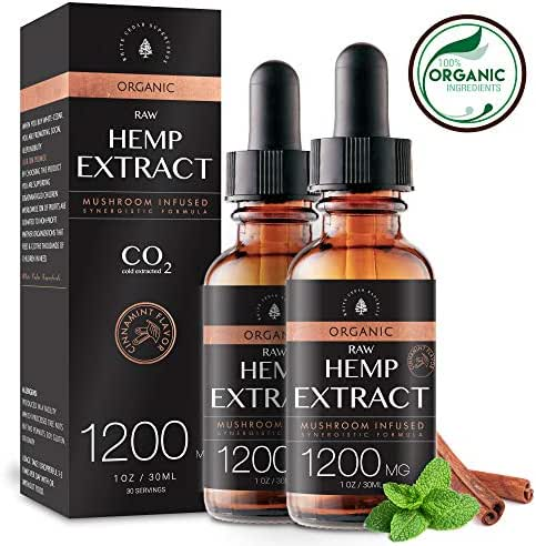 (2-Pack) Organic Raw Hemp Oil Extract - 1200MG - Cinnamint Flavor - Mushroom Infused for Enhanced Efficacy, Made in USA - Rich in Omega 3-6-9 Fatty Acids, Kosher, Non-GMO. White Cedar Naturals