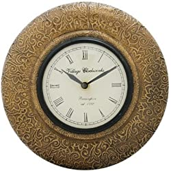 Purpledip Wooden Analog Wall Clock With Brass sheet Antique look, 12X12 inch frame, 6x6 inch dial size