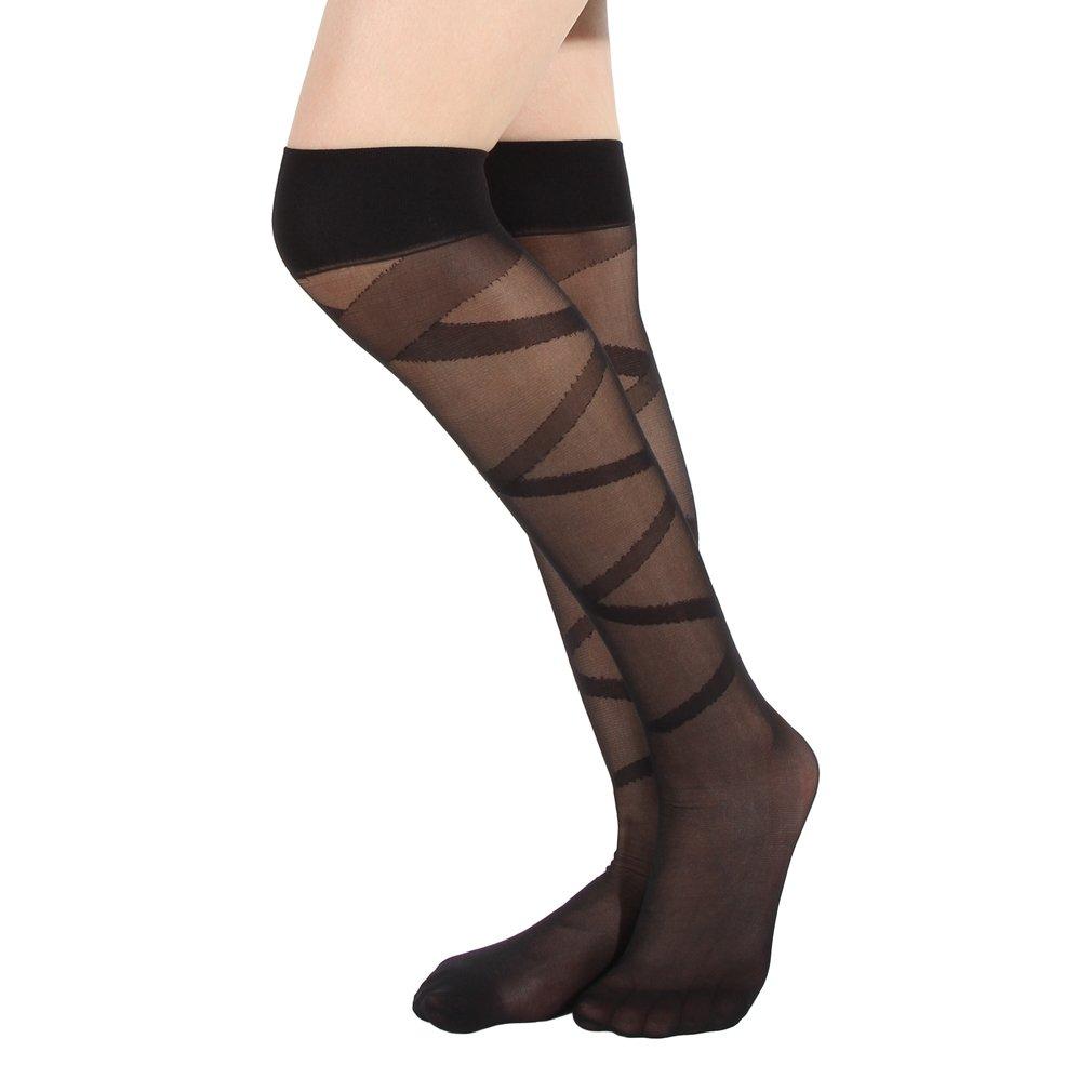 0e67794d9feb0 Eozy Collant Chaussette Bas Longue Cuisse Genou Haut Transparent Sock Femme  Noir: Amazon.fr: Vêtements et accessoires
