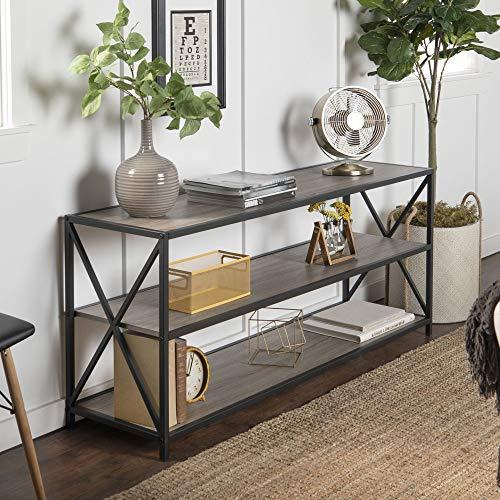 WE Furniture 2 Shelf Industrial Wood Metal Bookcase Bookshelf Storage, 60 Inch, Grey/Brown (Bookshelf Wood Metal)