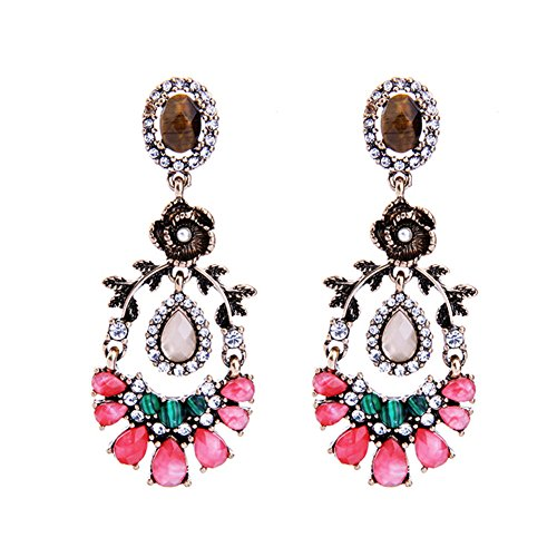 Bridal Vintage Floral Drop Earrings Pink Crystal Flower Dangle Earrings for Women Wedding (Vintage Bridal Earrings)