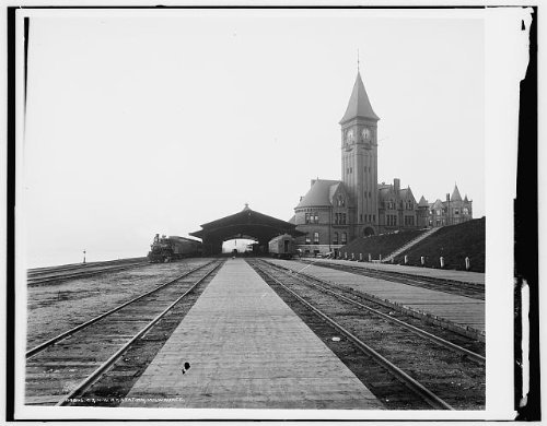 Photo: Chicago,North Western Railway Station,tracks,C&NWR,Milwaukee,Wisconsin,WI,1880