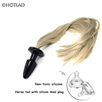 9af6508e605 Image Unavailable. Image not available for. Color  HOTLAD Anal Plug with  Soft Horse Tail Silicone Butt ...