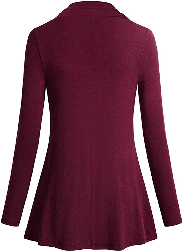 ATOPDREAM Womens Long Sleeve Cowl Neck Casual Tunic Top